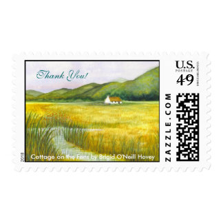 Cottage on the Fens, Thank You! by Brigid O'Neill Postage Stamp