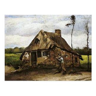 Cottage, Peasant Coming Home,Van Gogh Fine Art Postcard