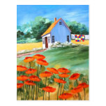 Cottage Quilt & Poppies Postcard