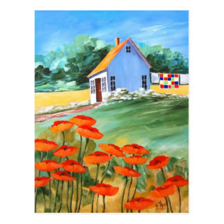 Cottage Quilt & Poppies Post Card