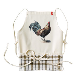 Cottage Rooster Vintage Dictionary Book Page Zazzle HEART Apron
