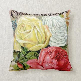 Cottage Rose Garden Advertisement Throw Pillows