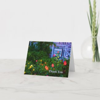 Cottage Rose Garden Painting Thank You Card