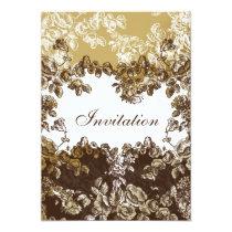 "cottage rose ""gold brown"" chic wedding invites"
