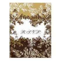 """cottage rose """"gold brown"""" chic wedding RSVP Postcard"""