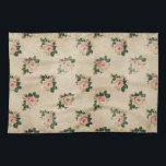 "Cottage Rose Kitchen Towel<br><div class=""desc"">Romantic cottage roses on a softly distressed neutral background with engraved swirls and butterflies in shades of pink,  peach,  gold,  and green.</div>"