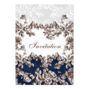 navy blue vintage roses wedding invites by mgdezigns