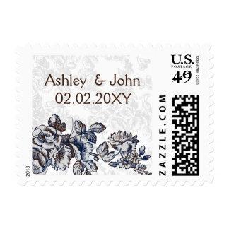 "cottage rose ""navy blue"" chic wedding postage stamps"