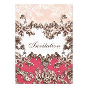 Pink vintage floral wedding invites by mgdezigns