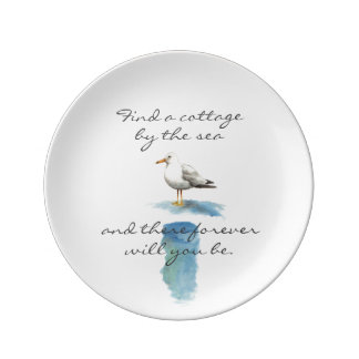 Cottage Style Seagull by the Sea Dinner Plate