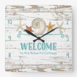 Cottage Style Welcome Wooden Beach Shells Board Square Wallclocks