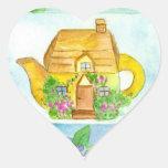 Cottage Teapot Sticker Lilac Flower Watercolor Art
