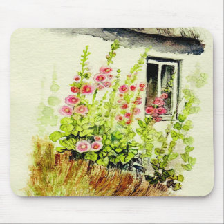 Cottage Window and Delphiniums Mousepad