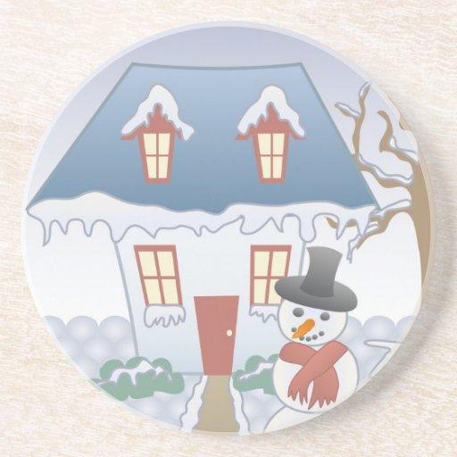 Cottage – Winter Beverage Coaster