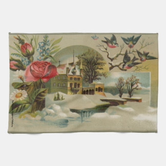 Cottage with Roses Hand Towel