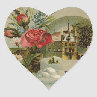 Cottage with Roses Heart Sticker