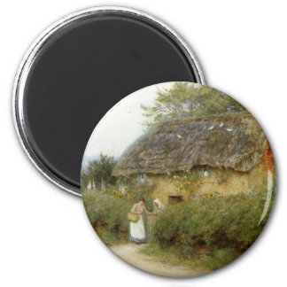 Cottage With Sunflowers 2 Inch Round Magnet