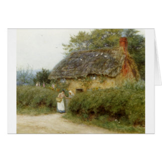 Cottage With Sunflowers Card