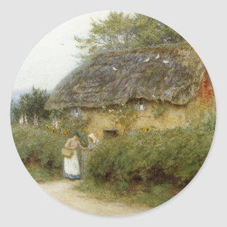 Cottage With Sunflowers Classic Round Sticker