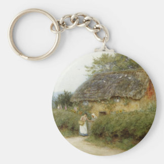 Cottage With Sunflowers Keychain