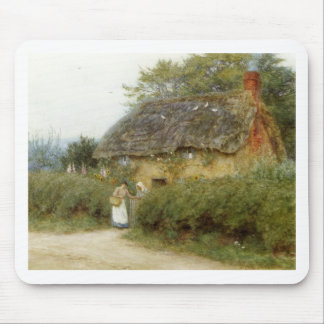 Cottage With Sunflowers Mouse Pad