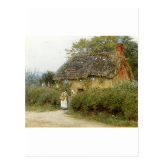 Cottage With Sunflowers Postcard