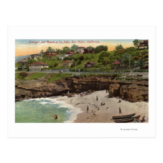 Cottages and Beach at La Jolla Post Card