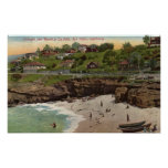 Cottages and Beach at La Jolla Poster
