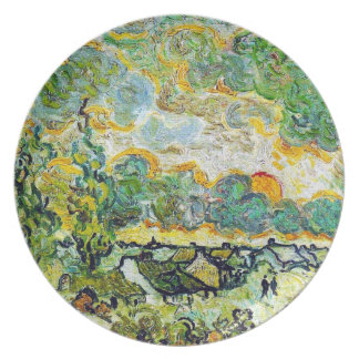 Cottages and Cypresses Reminiscence of the North Melamine Plate