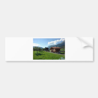 Cottages and greenery in Switzerland Car Bumper Sticker