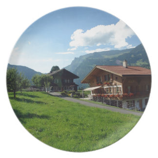 Cottages and greenery in Switzerland Dinner Plates