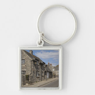 Cottages, Corfe Castle village, Dorset, England, Silver-Colored Square Keychain