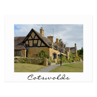 Cottages in Broadway, Cotswolds white text card