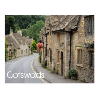 Cottages in Castle Combe text postcard