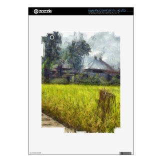 Cottages next to a field skin for iPad 3