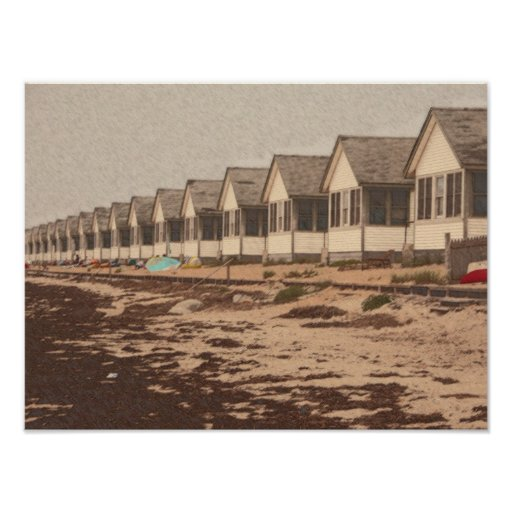 Cottages on the Beach Poster