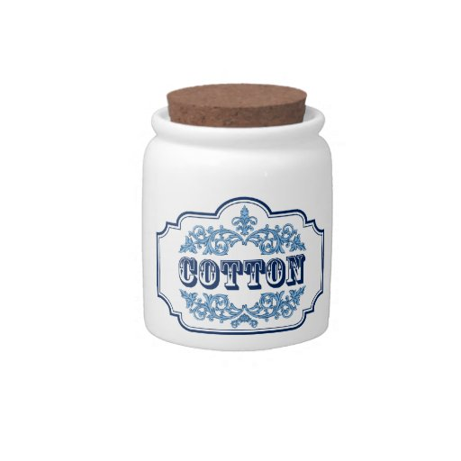 Cotton Balls Container Vintage Blue Design Candy Dishes