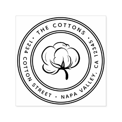 Cotton Boll Icon Return Address Self_inking Stamp