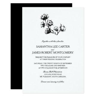 Cotton Boll Plant Etching | Wedding Card