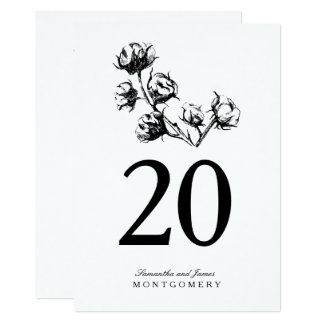 Cotton Boll Plant Etching Wedding Table Number