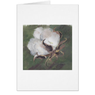 cotton boll with green background stationery note card