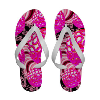 Cotton Candy, Abstract Fractal Pink Rose White Sandals