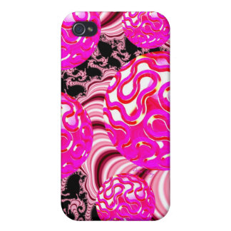 Cotton Candy, Abstract Fractal Pink Rose White iPhone 4/4S Cover