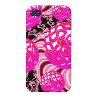 Cotton Candy, Abstract Fractal Pink Rose White iPhone 4 Covers