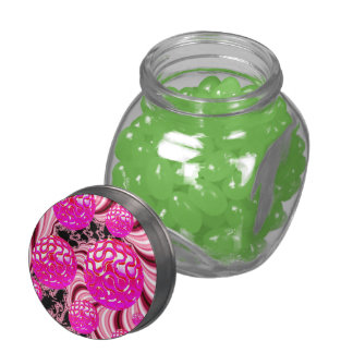 Cotton Candy, Abstract Fractal Pink Rose White Jelly Belly Candy Jars