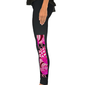 Cotton Candy, Abstract Fractal Pink Rose White Legging