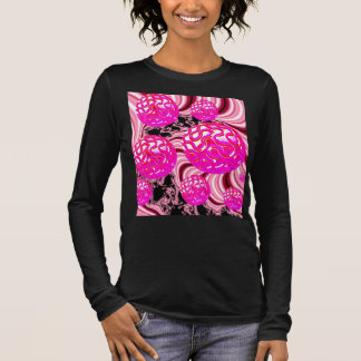 Cotton Candy, Abstract Fractal Pink Rose White Long Sleeve T-Shirt