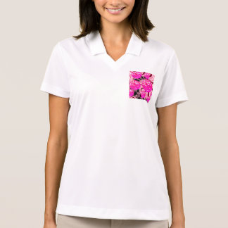 Cotton Candy, Abstract Fractal Pink Rose White Polo Shirt