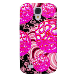 Cotton Candy, Abstract Fractal Pink Rose White Samsung S4 Case