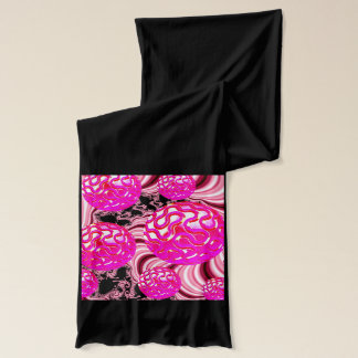 Cotton Candy, Abstract Fractal Pink Rose White Scarf